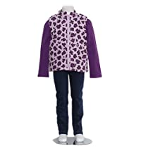 Baby Togs Toddler Girls 2T Purple Leopard 3pc Shirt Vest Jeans Outfit