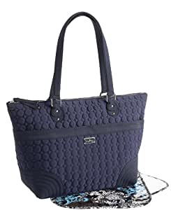 vera bradley microfiber baby diaper bag w changing pad navy blue new with tag. Black Bedroom Furniture Sets. Home Design Ideas