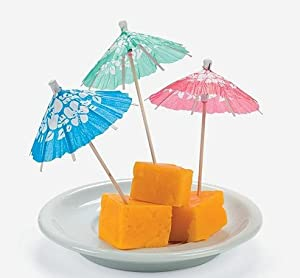 Box of 144 Cocktail Drink Hawaiian Paper Parasol Umbrella Picks