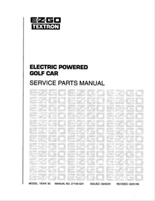 Ezgo 27148G01 1992 Service Parts Manual For Electric Golf Vehicle