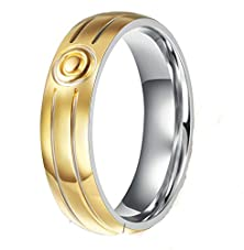 buy Mens Wedding Band Stainless Steel Gold Simple Smooth Round 6Mm Size 10 By Aienid