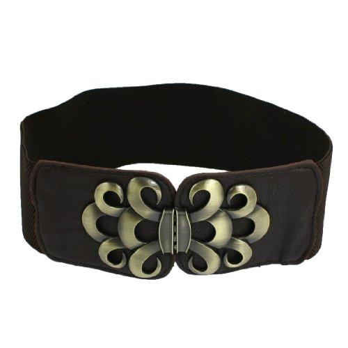Lady Faux Leather Metal Interlock Buckle Elastic Waist Belt Cinch Coffee Color