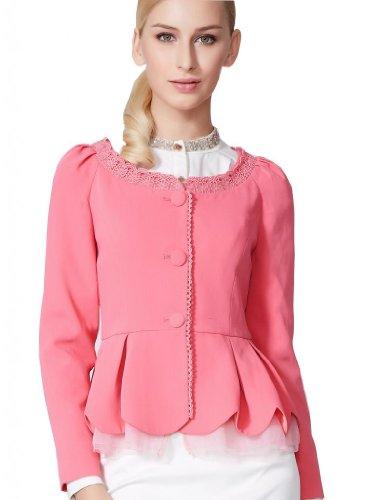Osa Women Petal Design Lace Fitted Peplum Blazer Size L Rose Red