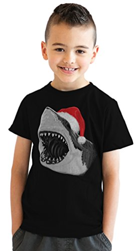 Youth Santa Jaws Funny Holiday Shark Christmas T shirt for Kids (Black) -M (Shark Tees compare prices)