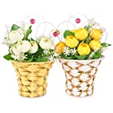 Tiedribbons Artificial Flowes With Vase For Living Room (10 Inch X 6 Inch ,Metal,Multicolor)