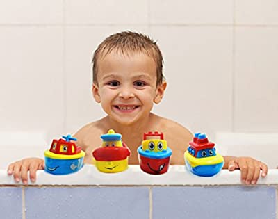 3 Bees & Me Bath Toys for Boys and Girls - Magnet Boats for Toddlers and Older Kids - Fun and Educational 4 Boat Set from 3 Bees & Me
