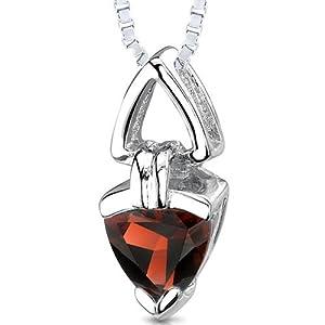trillion cut genuine garnet sterling silver pendant necklace