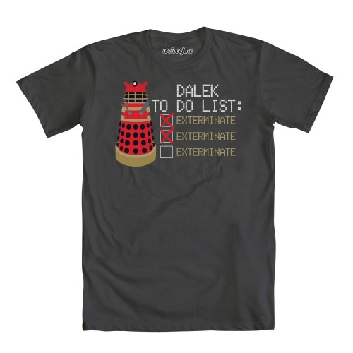 Doctor Who To Do: Exterminate Mens Charcoal Gray T-Shirt   M