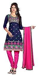 Jinal Fashion women's Chanderi Silk Dress Materia (Blue_color)