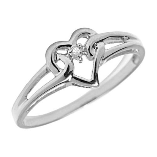 14K White Gold Secure Heart Diamond April Birthstone Ring