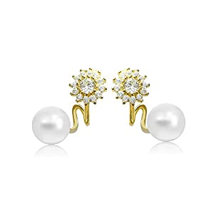 Gold Plated Earrings Stud Ear Cuff Wrap Freshwater Cultured Pearl 5.5mm White Flower Design