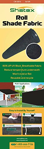 Shatex Roll Outdoor Sunscreen Shade Cloth,90% UV Block, Black, 8x15ft (Screen Sun Shade compare prices)