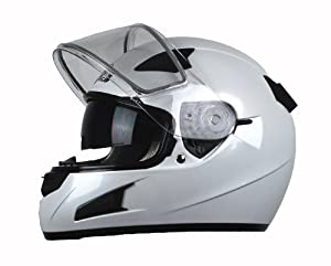Vega Attitude Full Face Snowmobile Helmet (Pearl White, Small)