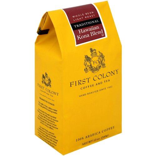 First Colony Ground Coffee, Hawaii Kona Blend, 12-Ounce Bag