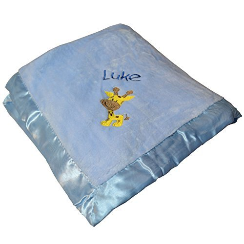 Luke Personalized Baby Blanket - Blue with Giraffe & Name Embroidery (Luke Personalized compare prices)