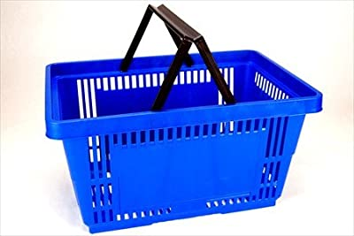 Plastic Shopping Baskets w/ Handles - Quantity 1 - Eco Friendly Reusable Retail Store / Grocery Basket - Better Than Paper or Plastic Bags