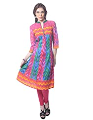 Saving Tree Cotton Anarkali Kurta In Vbrant Colours