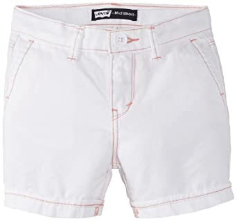 Levi's Little Girls' Midi Twill Short, White, 4