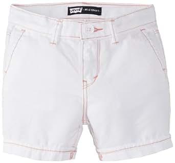 Levi's Big Girls' Midi Twill Short, White, 7