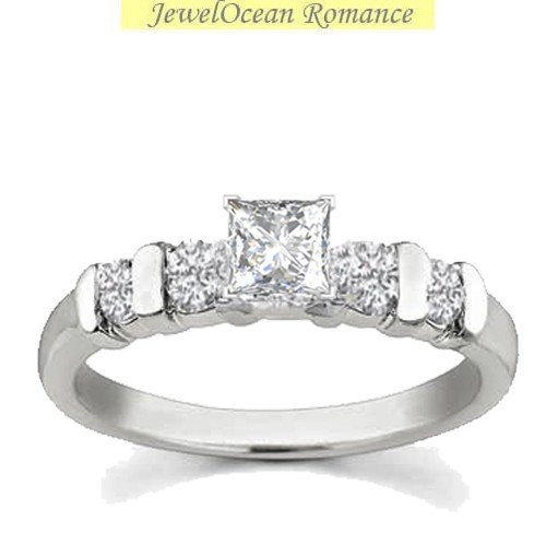 0.58 Carat Engagement Ring on Sale with Princess cut Diamond on 18K White gold