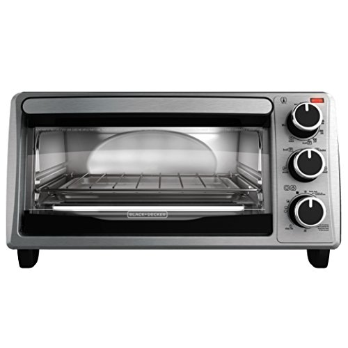 BLACK+DECKER TO1303SB 4-Slice Toaster Oven, Includes Bake Pan, Broil Rack & Toasting Rack, Stainless Steel/Black Toaster Oven (Compact Stainless Toaster Oven compare prices)