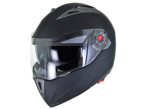 DOT Approved Motorcycle Helmet Modular Flip Up Matte Black Dual Smoke Visor EVOS Sport Street Bike Cruiser Scooter Snowmobile ATV Helmet - Large