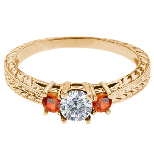 0.56 Ct Round G/H Diamond Orange Sapphire 14K Yellow Gold 3-Stone Ring