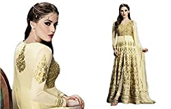Cream Georgette Embroidered Dress Material with lacework