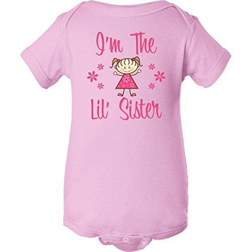 Inktastic Unisex Baby The Lil' Sister Infant Creeper Newborn Pink front-27386