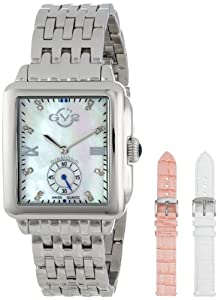 GV2 by Gevril Women's 9200 Bari Rectangular Mother-Of-Pearl Diamond Bracelet and Leather Straps Watch Set