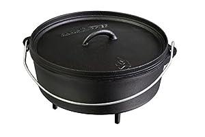 "Camp Chef Classic Dutch Oven 12"" Large 6 Quart SDO12 Pre Seasoned Cast Iron, Black"