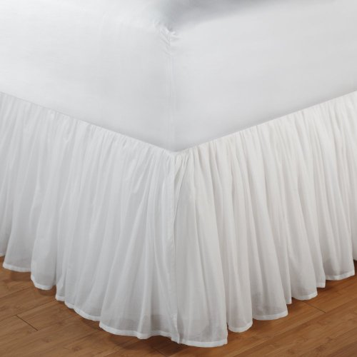 """Cotton Voile Bed Skirt 15"""" Drop Size: Full, Drop Length: 15"""", Color: White front-200787"""