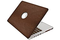 Macbook-Pro-13-Leather-Case, SlickBlue - Macbook-Pro-13 Hard PU Leather Case & Keyboard Cover (Model : A1278) Shell Cover Leatherette - Brown