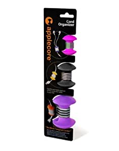 AppleCore Cable Organizer 3 Pack Combo (Pink, Black, Purple)