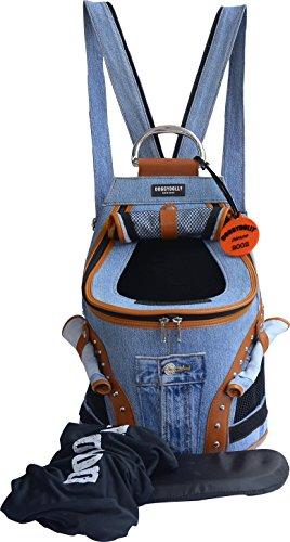Doggy-Dolly-PC031-Hunderucksack-Jeans-mit-Netzfenster-Tragetasche-blau-braun