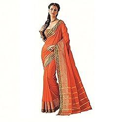 Lemoda Designer Orange Zari Border Cotton Blend Saree MMUKE54452904930-70000024