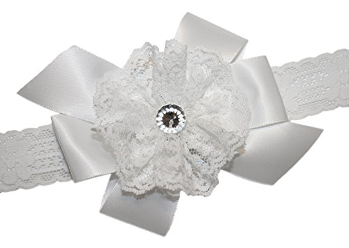 Webb Direct 2U Baby-Girls White Satin & Lace Hair Bow Stretch Headband (8022) front-551909