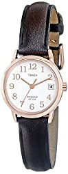 Timex Women's T2P5649J Easy Reader Rose Gold-Tone Watch with Brown Leather Band