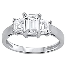 buy Ronelyn: 2.0Ct Emerald-Cut Ice On Fire Cz Ppf 3-Stone Engagement Ring 925 Silver, 3284B Sz 7.5