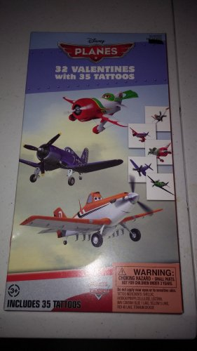 Disney Pixar Planes 32 Valentines Cards with Tattoos - 1