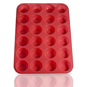 BakeMaster Silicone Mini Muffin Pan Silicone Cupcake Pan 100% Food Grade Silicone Quiche Pan BPA-free Non-stick Red Silicone