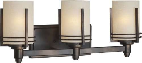 Forte Lighting 5389-03-32 Contemporary 3-Light Vanity Fixture With Umber Linen Glass, Antique Bronze Finish front-810788