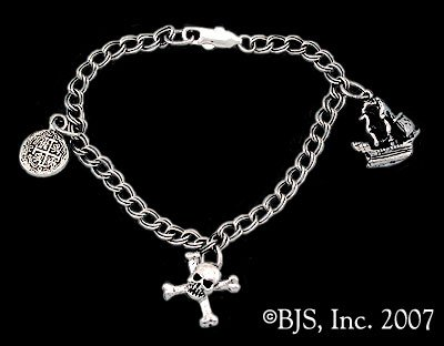 Sterling Silver Pirate Charm Bracelet