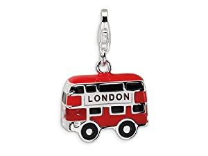 Amore LaVita(tm) Sterling Silver 3-D Enameled Double Decker London Bus w/Lobster Clasp Charm for Charm Bracelet