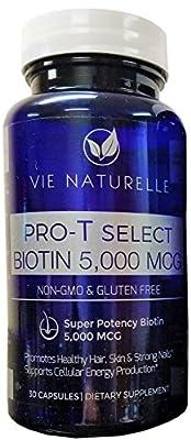 Vie Naturelle Biotin For Hair Growth 5,000 MCG - Super Potency Hair Loss Vitamins (30 Day Supply))