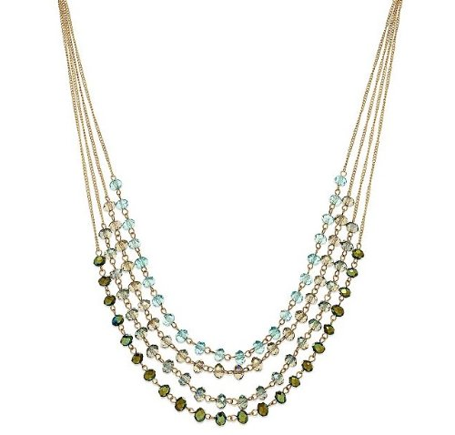 "C.A.K.E. By Ali Khan Necklace, Gold-Tone 16"" Celadon Green Bead Four-Row Necklace"