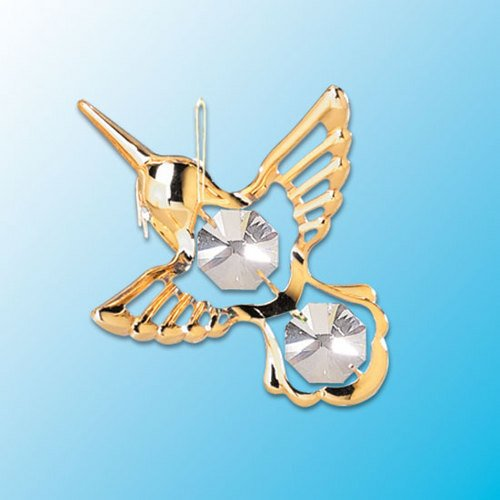 Mini Hummingbird ... Hanging Sun Catcher or Ornament..... With Clear Swarovski Austrian Crystals - 1