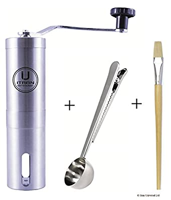Stainless Steel Manual Coffee Bean Grinder with Hand Crank Mill. Includes Stainless Steel Coffee Measuring Scoop with Bag Sealing Clip and Grinder Cleaning Brush. Size 4.5 cm x 4.5 cm x 19 cm. Best For Brewed Coffee, Espresso, Cappuccino, Americano, Latte