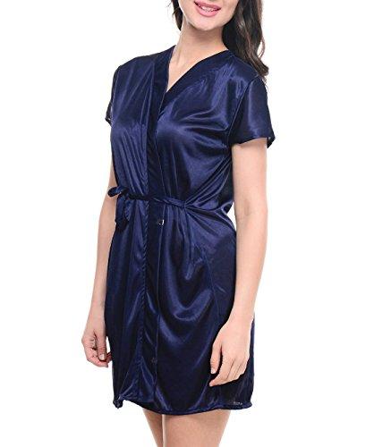 86158feaf 74% OFF on Klamotten Womens Satin NightDress   Nightshirt (Yy67  Navy  Free  Size) on Amazon