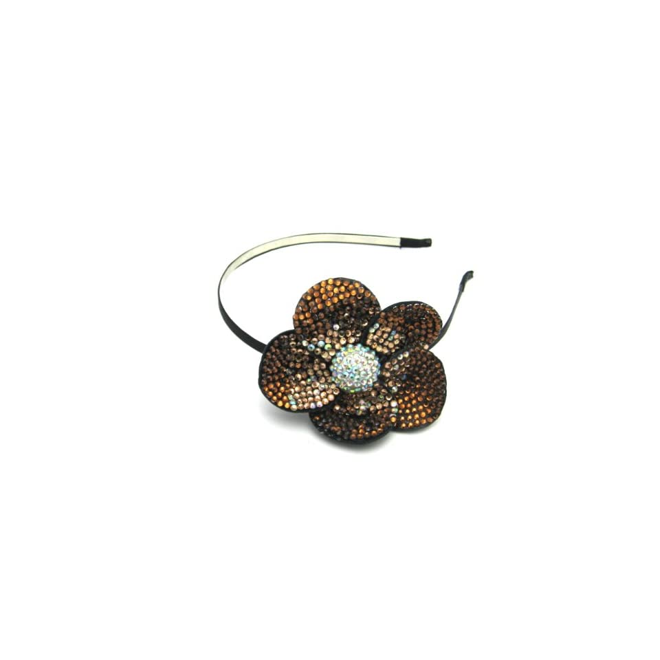 Brown Flower Silver Metal Headband P003